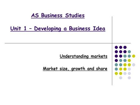 AS Business Studies Unit 1 – Developing a Business Idea