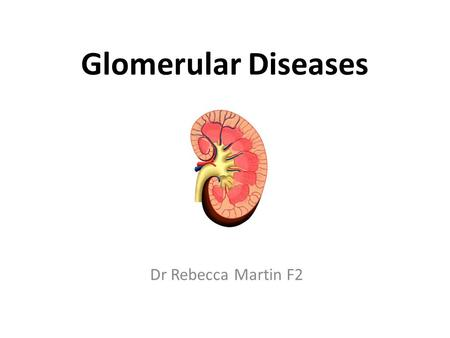 Glomerular Diseases Dr Rebecca Martin F2. Learning objectives 1.Appreciate the fact that glomerular diseases fall onto a wide spectrum 2.Be able to define.