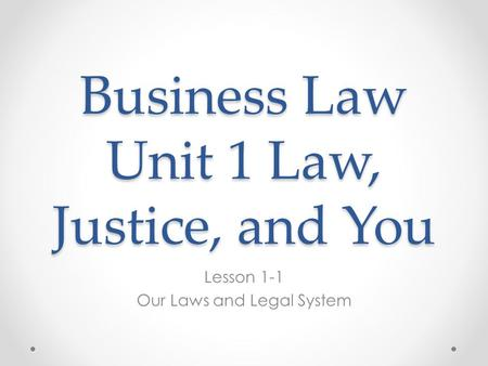 Business Law Unit 1 Law, Justice, and You