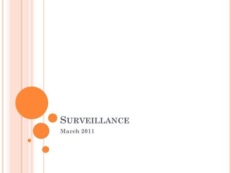 S URVEILLANCE March 2011 SESSION Definition Conditions Types Methods Recommendations.