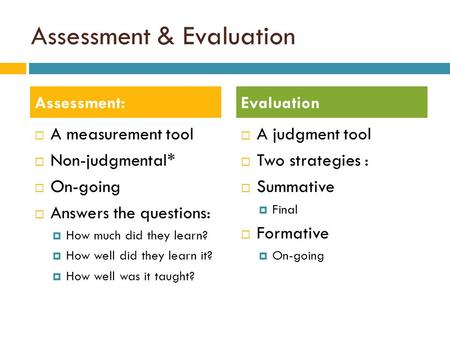 Assessment & Evaluation  A measurement tool  Non-judgmental*  On-going  Answers the questions:  How much did they learn?  How well did they learn.