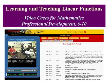 Learning and Teaching Linear Functions Video Cases for Mathematics Professional Development, 6-10.