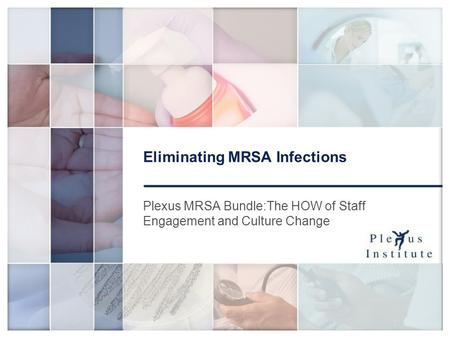 1 Eliminating MRSA Infections Plexus MRSA Bundle:The HOW of Staff Engagement and Culture Change.