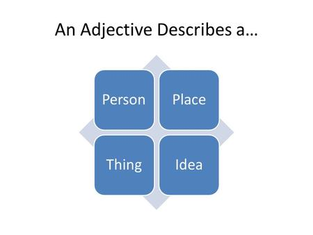 An Adjective Describes a… PersonPlaceThingIdea. An Adjective provides information about the… of a noun or pronoun. Size Shape ColorSoundFeelingTextureSmellNumber.