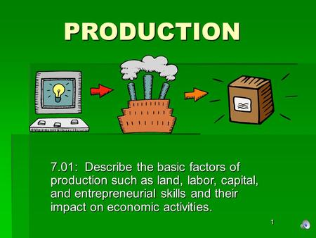 PRODUCTION 7.01: Describe the basic factors of production such as land, labor, capital, and entrepreneurial skills and their impact on economic activities.