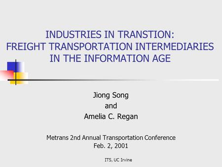 Metrans 2nd Annual Transportation Conference