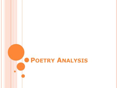 P OETRY A NALYSIS. Select the poem carefully In a poem analysis, you will generally be given a selection of two or three poems Pick one to analyze Pick.