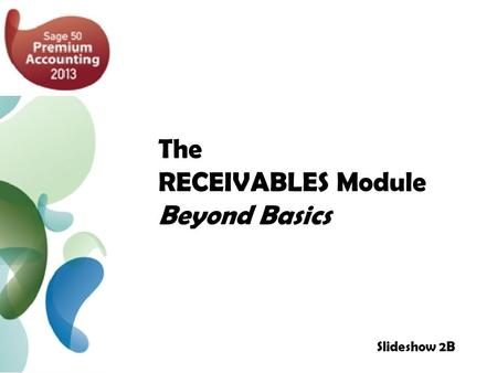 The RECEIVABLES Module Beyond Basics Slideshow 2B.