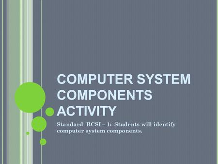 COMPUTER SYSTEM COMPONENTS ACTIVITY
