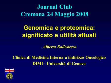 Journal Club Cremona 24 Maggio 2008