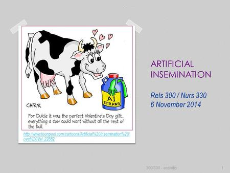 ARTIFICIAL INSEMINATION Rels 300 / Nurs 330 6 November 2014  ove%20Val_22882 300/330 - appleby1.