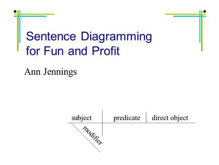 Sentence Diagramming for Fun and Profit Ann Jennings subjectpredicatedirect object modifier.