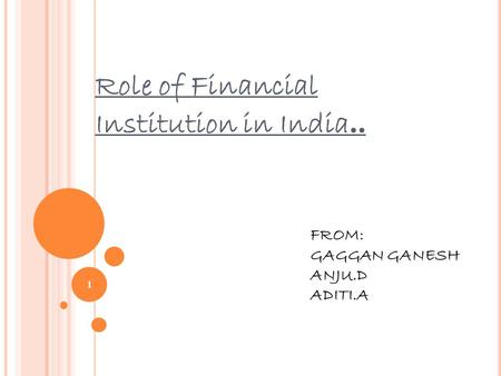 Role of Financial Institution in India.. FROM: GAGGAN GANESH ANJU.D ADITI.A 1.