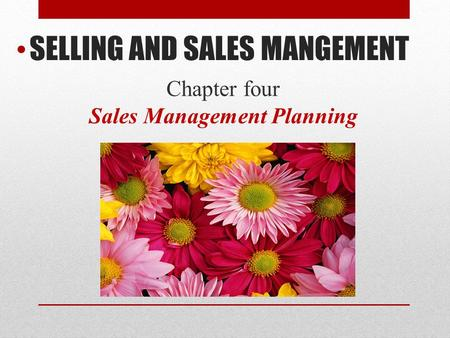 Chapter four Sales Management Planning SELLING AND SALES MANGEMENT.