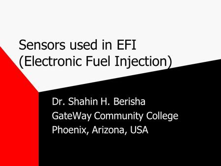 Sensors used in EFI (Electronic Fuel Injection)