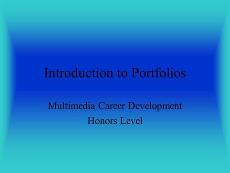 Introduction to Portfolios
