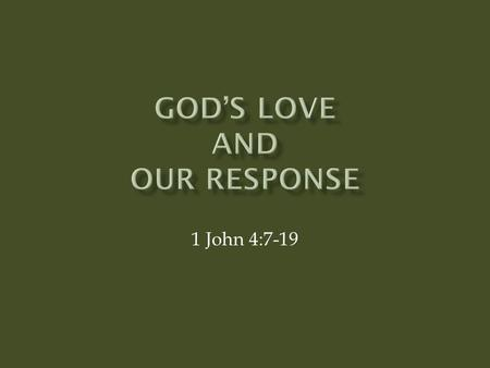 God's Love aNd Our Response
