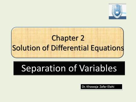 Chapter 2 Solution of Differential Equations