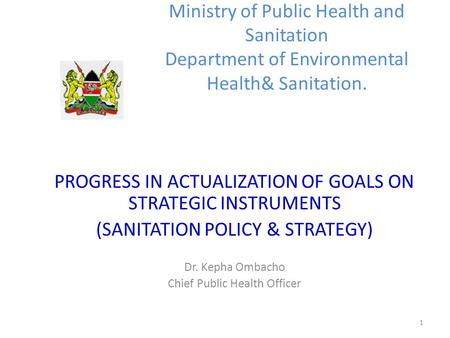 1 Ministry of Public Health and Sanitation Department of Environmental Health& Sanitation. PROGRESS IN ACTUALIZATION OF GOALS ON STRATEGIC INSTRUMENTS.
