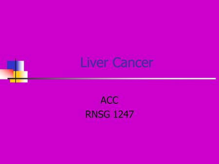 Liver Cancer ACC RNSG 1247. Risk factors 4 th most common cancer in the world Most common primary liver cancer is hepatocellular carcinoma Cirrhosis –