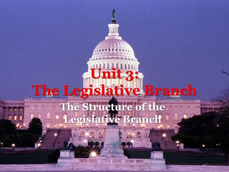 Unit 3: The Legislative Branch The Structure of the Legislative Branch.