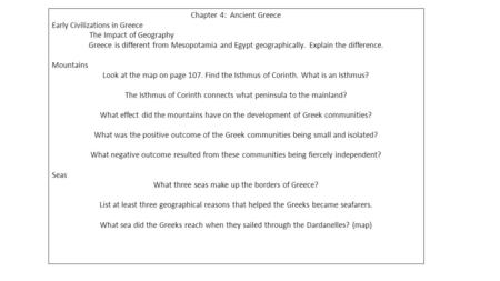 Chapter 4: Ancient Greece Early Civilizations in Greece