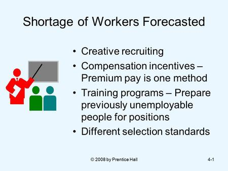 © 2008 by Prentice Hall4-1 Shortage of Workers Forecasted Creative recruiting Compensation incentives – Premium pay is one method Training programs – Prepare.