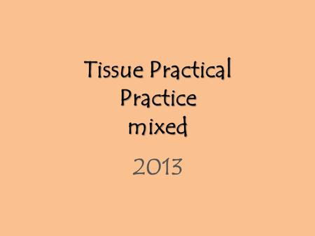 Tissue Practical Practice mixed 2013. Simple cuboidal epithelium.