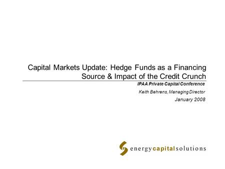 New Equity Sources for Private Energy Companies January 19