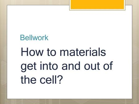 Bellwork How to materials get into and out of the cell?