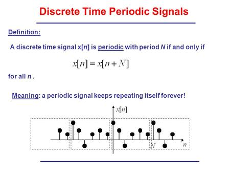 Discrete Time Periodic Signals A discrete time signal x[n] is periodic with period N if and only if for all n. Definition: Meaning: a periodic signal keeps.