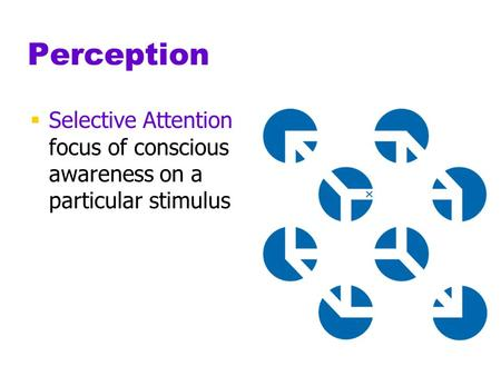 Perception Selective Attention				 focus of conscious 		 awareness on a 			 particular stimulus.