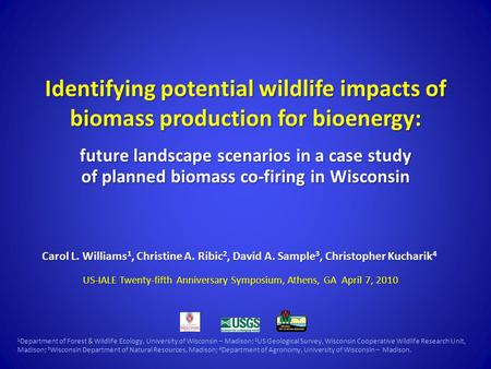 Identifying potential <strong>wildlife</strong> impacts <strong>of</strong> biomass production for bioenergy: future landscape scenarios in a case study <strong>of</strong> planned biomass co-firing in.