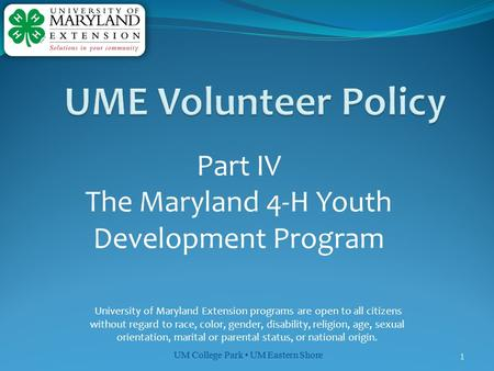 The Maryland 4-H Youth Development Program
