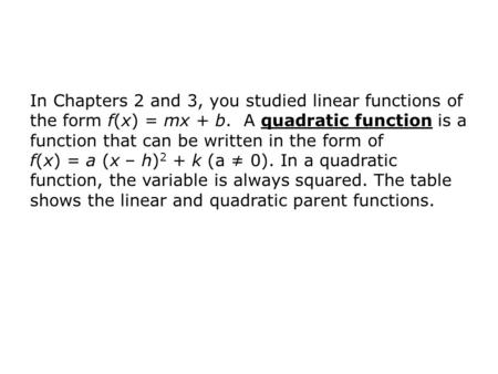 In Chapters 2 and 3, you studied linear functions of the form f(x) = mx + b. A quadratic function is a function that can be written in the form of f(x)