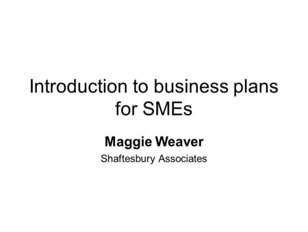 Introduction to business plans for SMEs