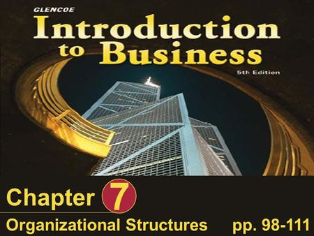 Chapter 7 Organizational Structurespp. 98-111. Introduction to Business, Organizational Structures Slide 2 of 55 Learning Objectives After completing.