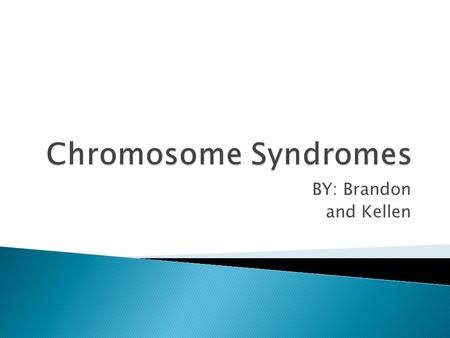 Chromosome Syndromes BY: Brandon and Kellen.