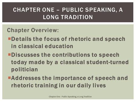 Chapter one – public speaking, a long tradition