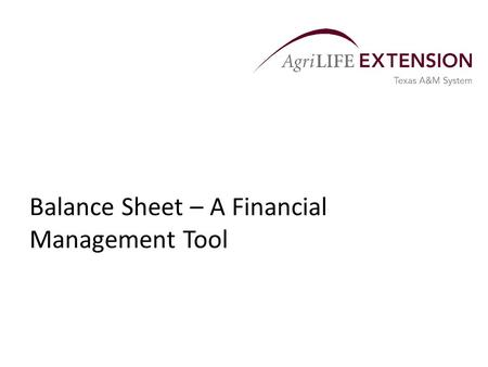 Balance Sheet – A Financial Management Tool. Overview  A balance sheet is a statement of the financial condition of a business at a specific time. 