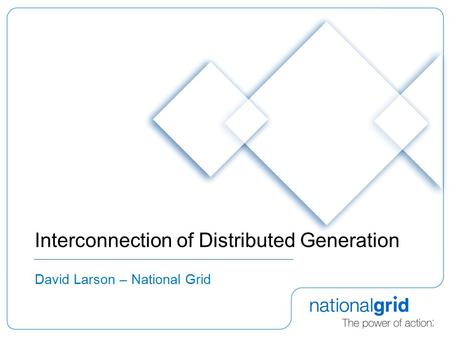 Interconnection of Distributed Generation