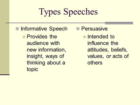 Informative Speech Provides the audience with new information, insight, ways of thinking about a topic Persuasive Intended to influence the attitudes,