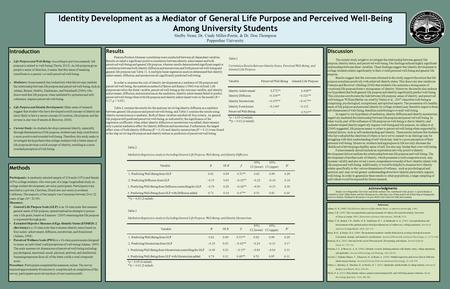 Identity Development as a Mediator of General Life Purpose and Perceived Well-Being Among University Students Shelby Stone, Dr. Cindy Miller-Perrin, &