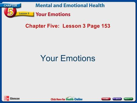 Chapter Five: Lesson 3 Page 153 Your Emotions. What Are Emotions? Your emotions affect all sides of your health triangle. emotions Feelings such as love,