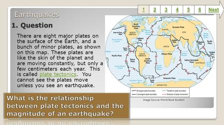 1. Question There are eight major plates on the surface of the Earth, and a bunch of minor plates, as shown on this map. These plates are like the skin.