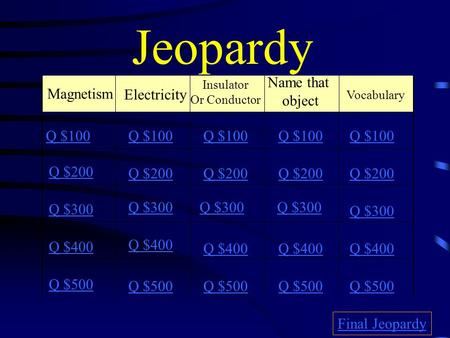 Jeopardy Electricity Name that object Magnetism Q $100 Q $100 Q $100