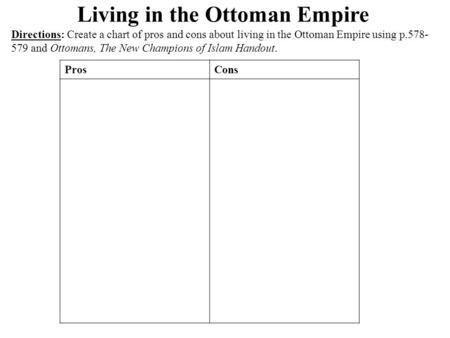 Living in the Ottoman Empire