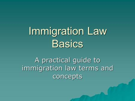 Immigration Law Basics A practical guide to immigration law terms and concepts.