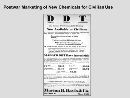 Postwar Marketing of New Chemicals for Civilian Use.
