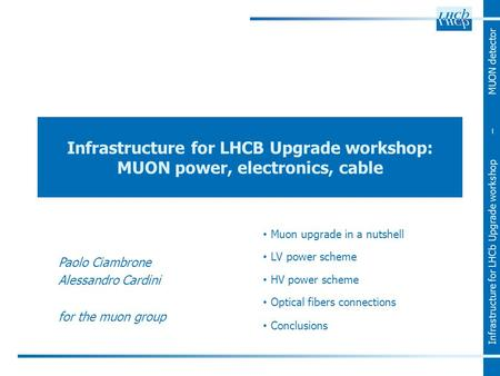 Infrastructure for LHCb Upgrade workshop – MUON detector Infrastructure for LHCB Upgrade workshop: MUON power, electronics, cable Muon upgrade in a nutshell.
